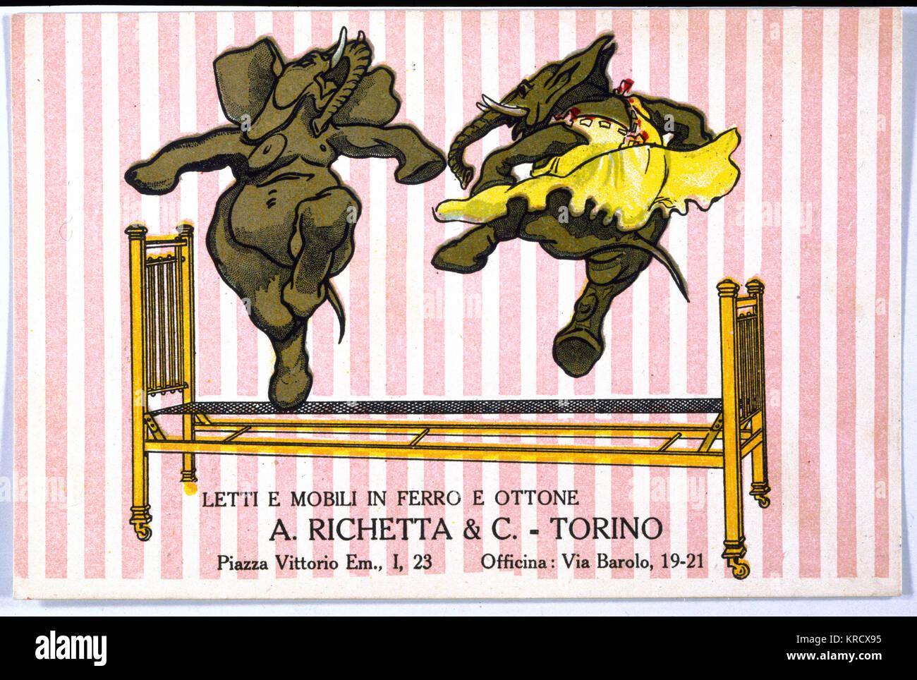L'Italien lits sont conçus pour prendre un martèlement peur - danse les éléphants n'aurait Photo Stock