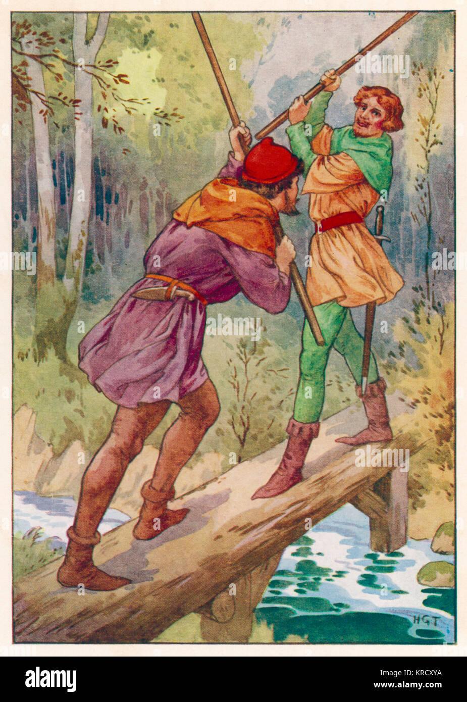 https://c8.alamy.com/compfr/krcxya/robin-hood-and-little-john-profitez-d-une-simulation-de-lutte-sur-un-petit-pont-sur-une-riviere-date-vers-1930-krcxya.jpg