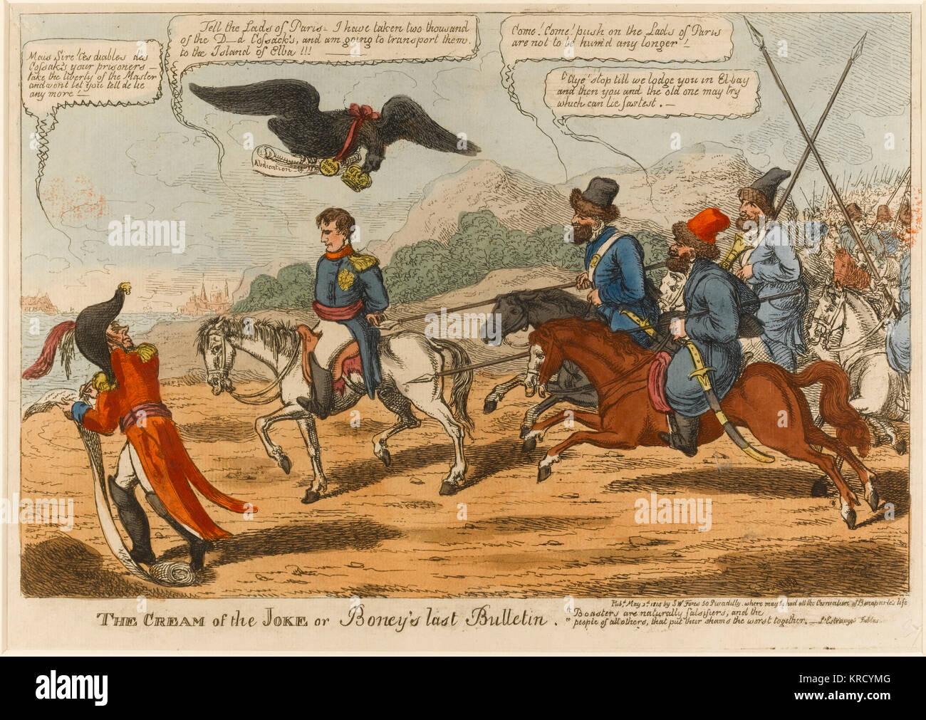 Dessin animé satirique, la crème de la plaisanterie ou le dernier bulletin. Napoléon, un prisonnier, Photo Stock