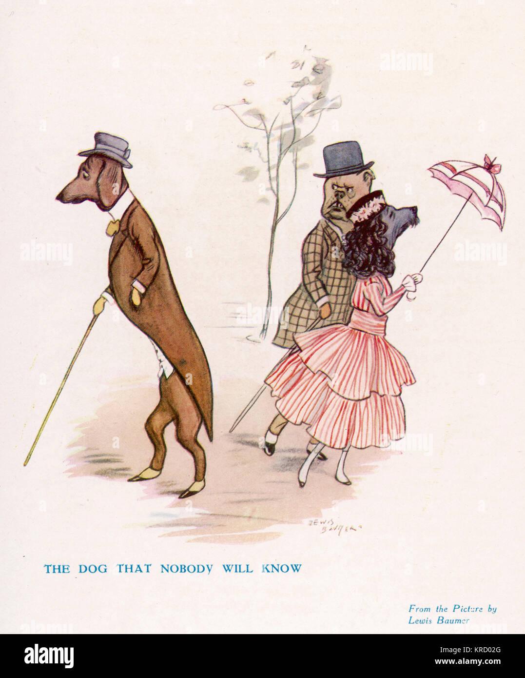 Un teckel allemand baissés est évitée par un bulldog Anglais et Français caniche. Teckels n'étaient Photo Stock