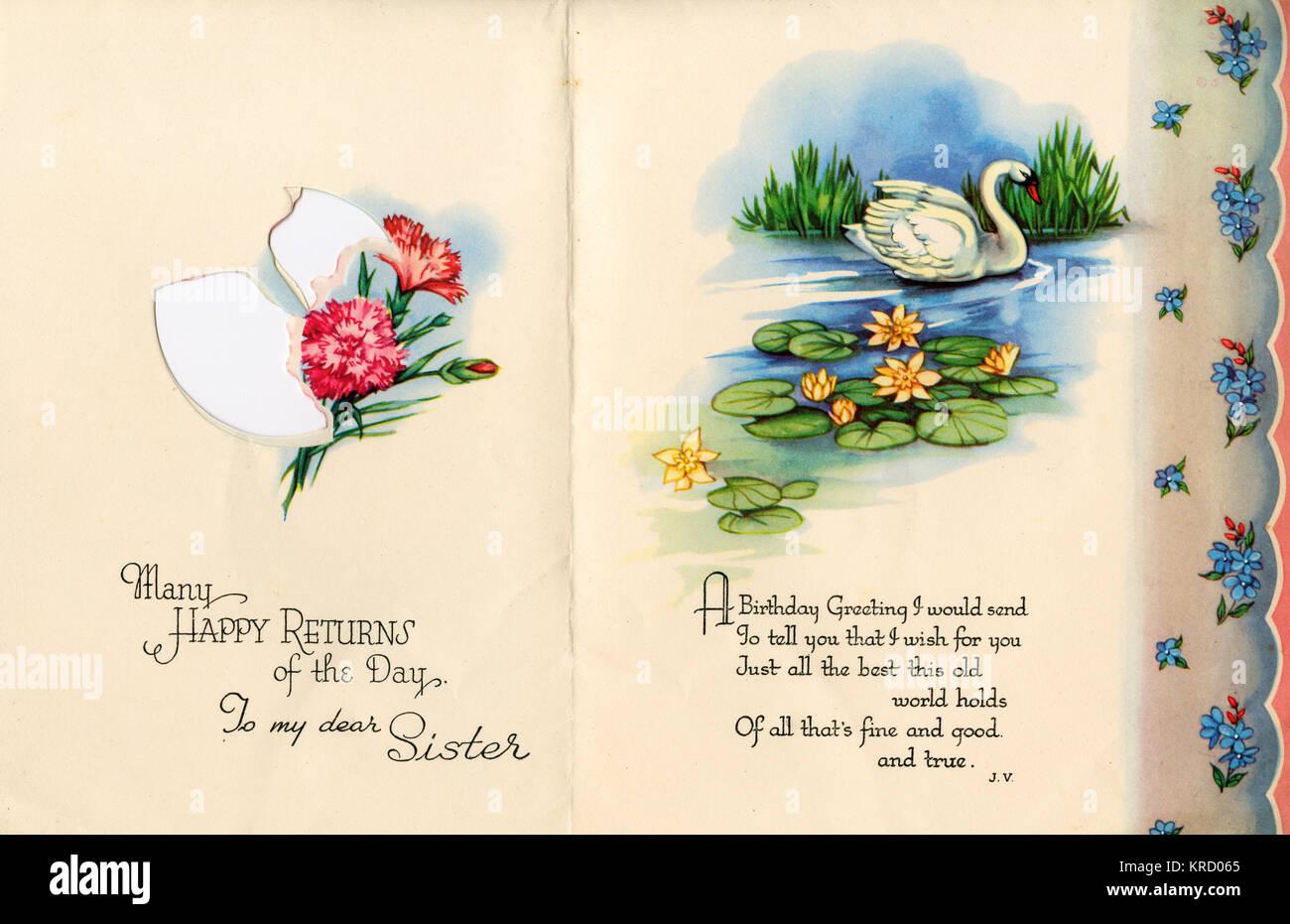 Bonne Fête De La Journée à Ma Chère Sœur Un Cygne Glisse