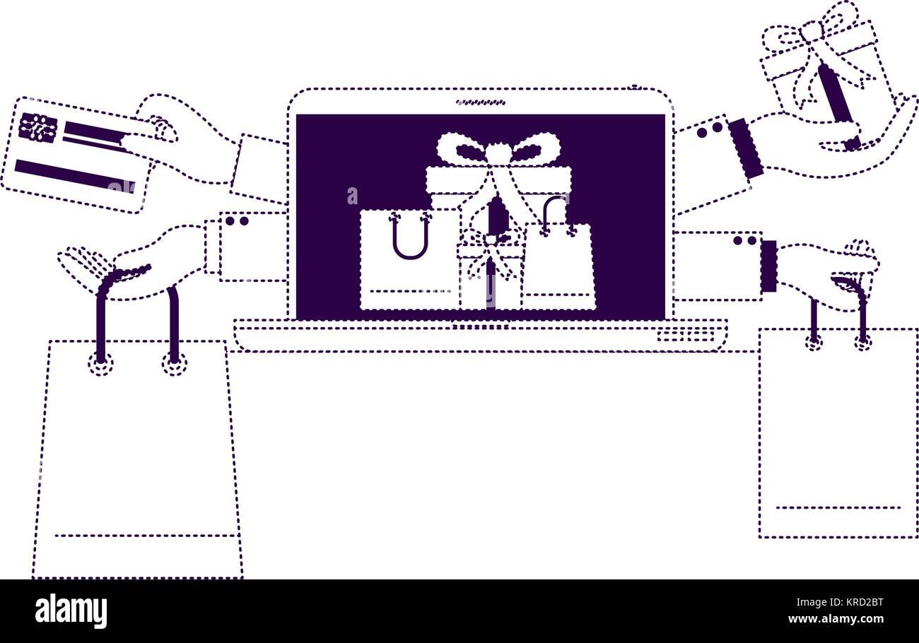 Les achats en ligne de cadeaux avec la carte de crédit à l'ordinateur portable de pourpre parsemé Photo Stock