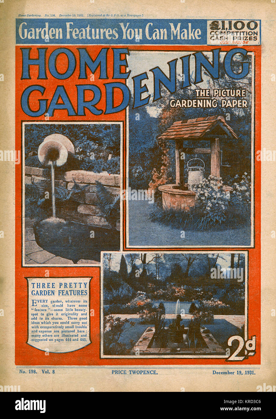 Couverture du magazine de jardinage Accueil suggérant trois jolies fonctionnalités pour le jardin - un bien, d'une urne d'eau et un bassin avec jet d'eau en contrebas de la place. Date: 1931 Banque D'Images