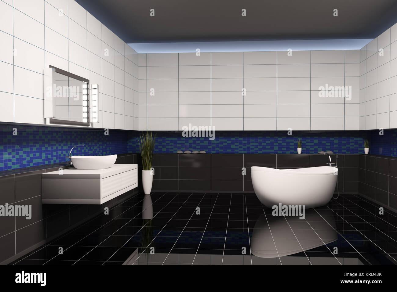 Salle de bains avec murs blanc bleu noir 3d intérieur Banque ...
