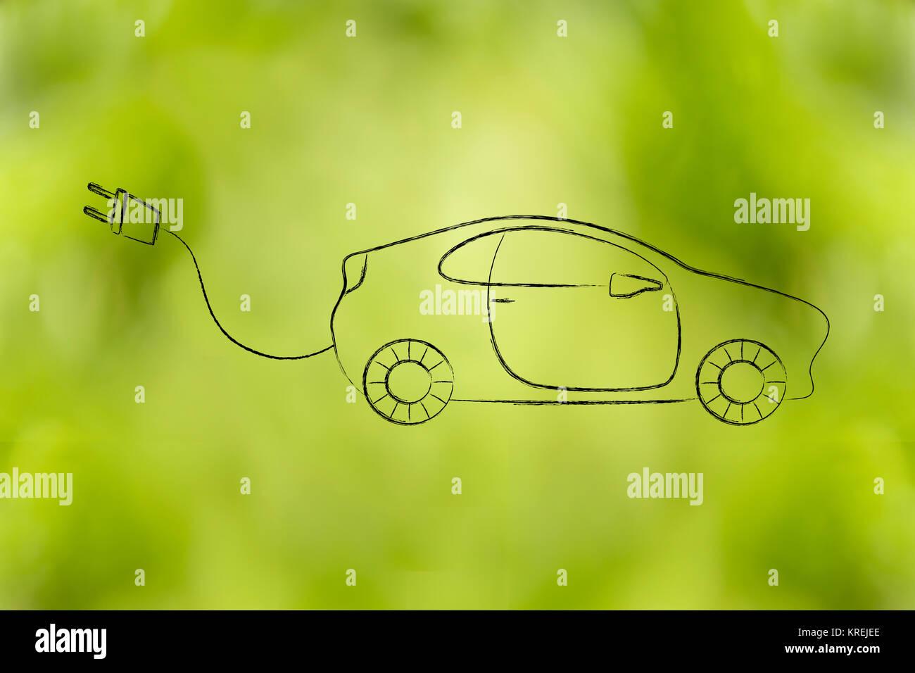 Les voitures électriques et hybrides: véhicule avec grand bouchon rigolo Photo Stock