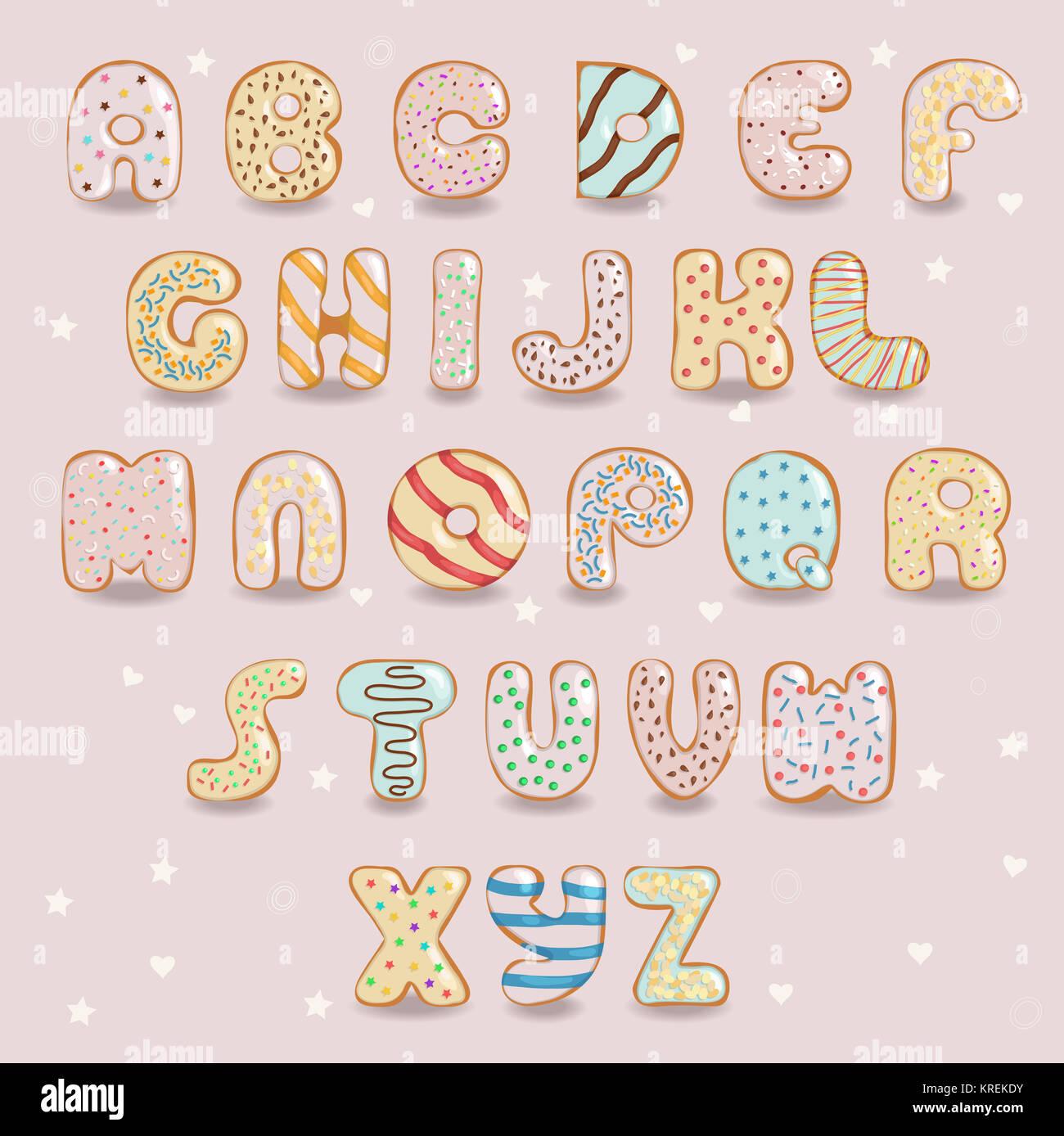 Alphabet Artistique le chocolat blanc beignets font. alphabet artistique banque d'images