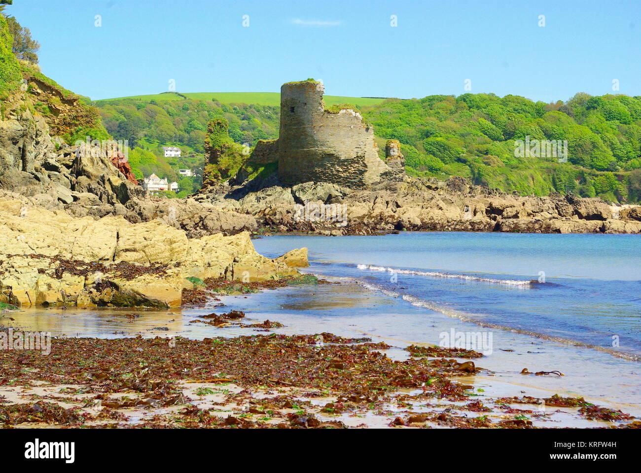 Salcombe château fort Charles, près de l'exploitation des sables bitumineux du nord, Salcombe, Devon. Photo Stock