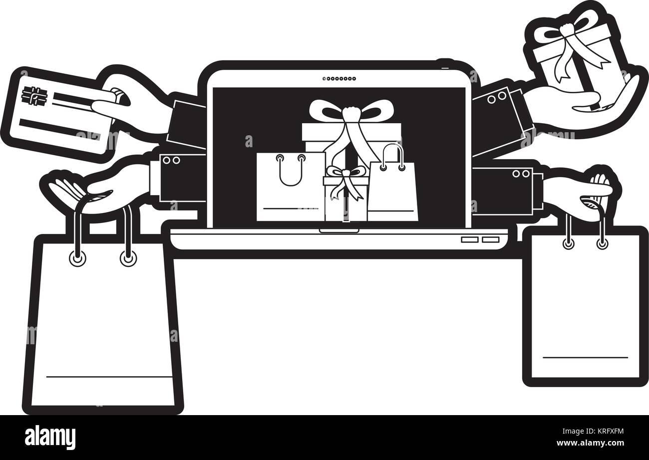 Les achats en ligne de cadeaux avec la carte de crédit à l'ordinateur portable en silhouette noire Photo Stock