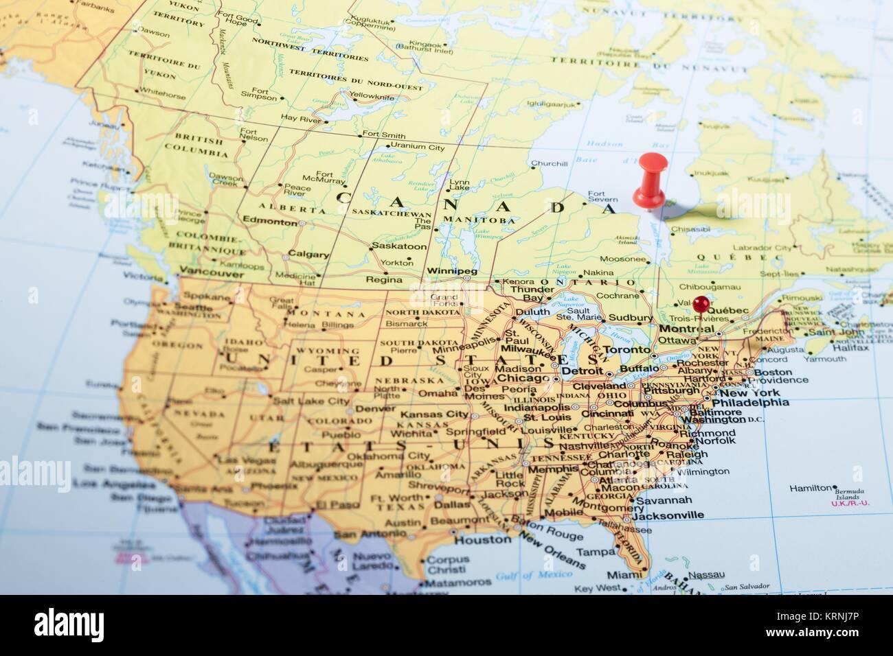 Carte états unis Canada