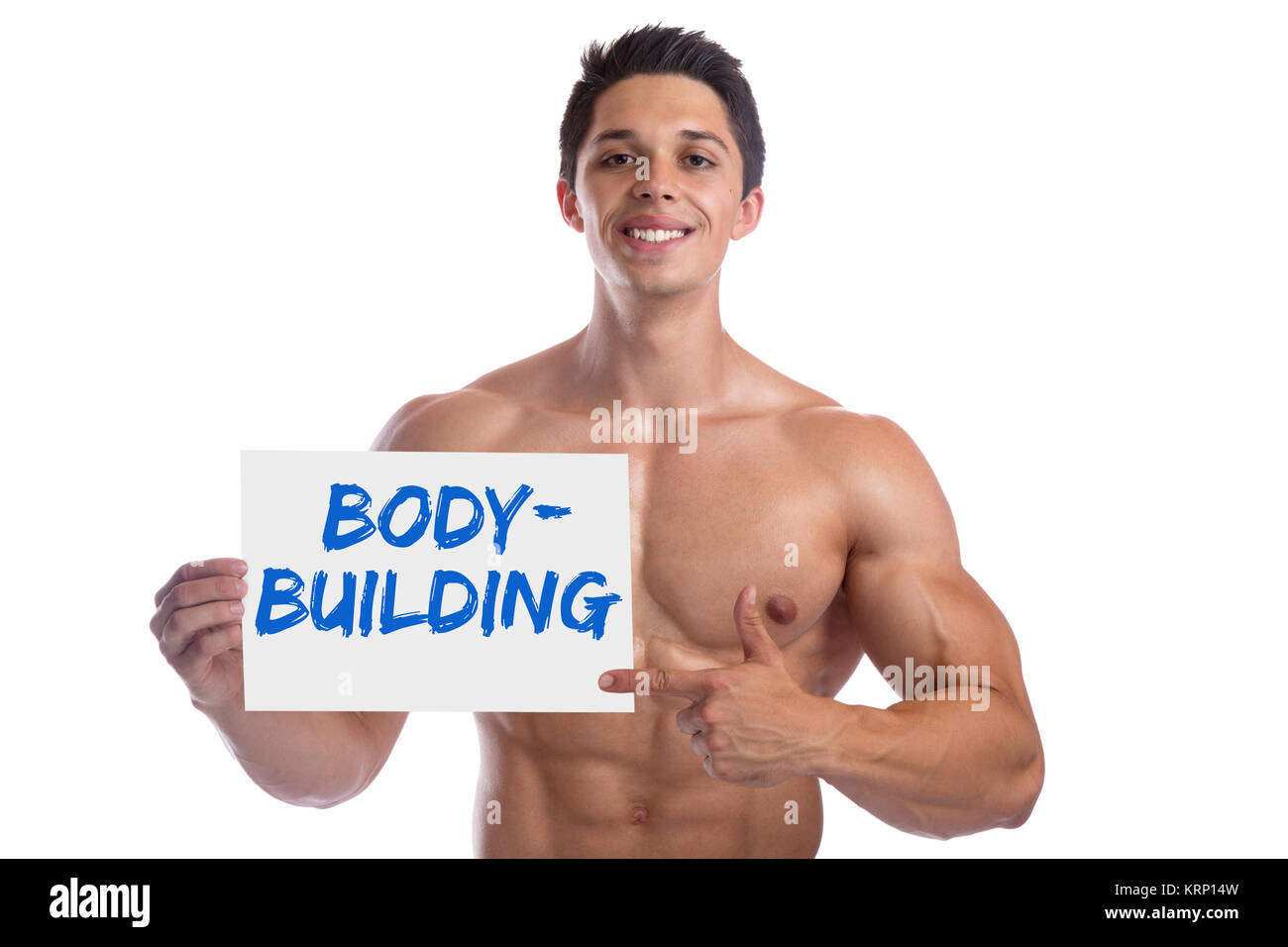 Bodybuilder bodybuilding bouclier muscles musculation homme strong muscular young cut Photo Stock