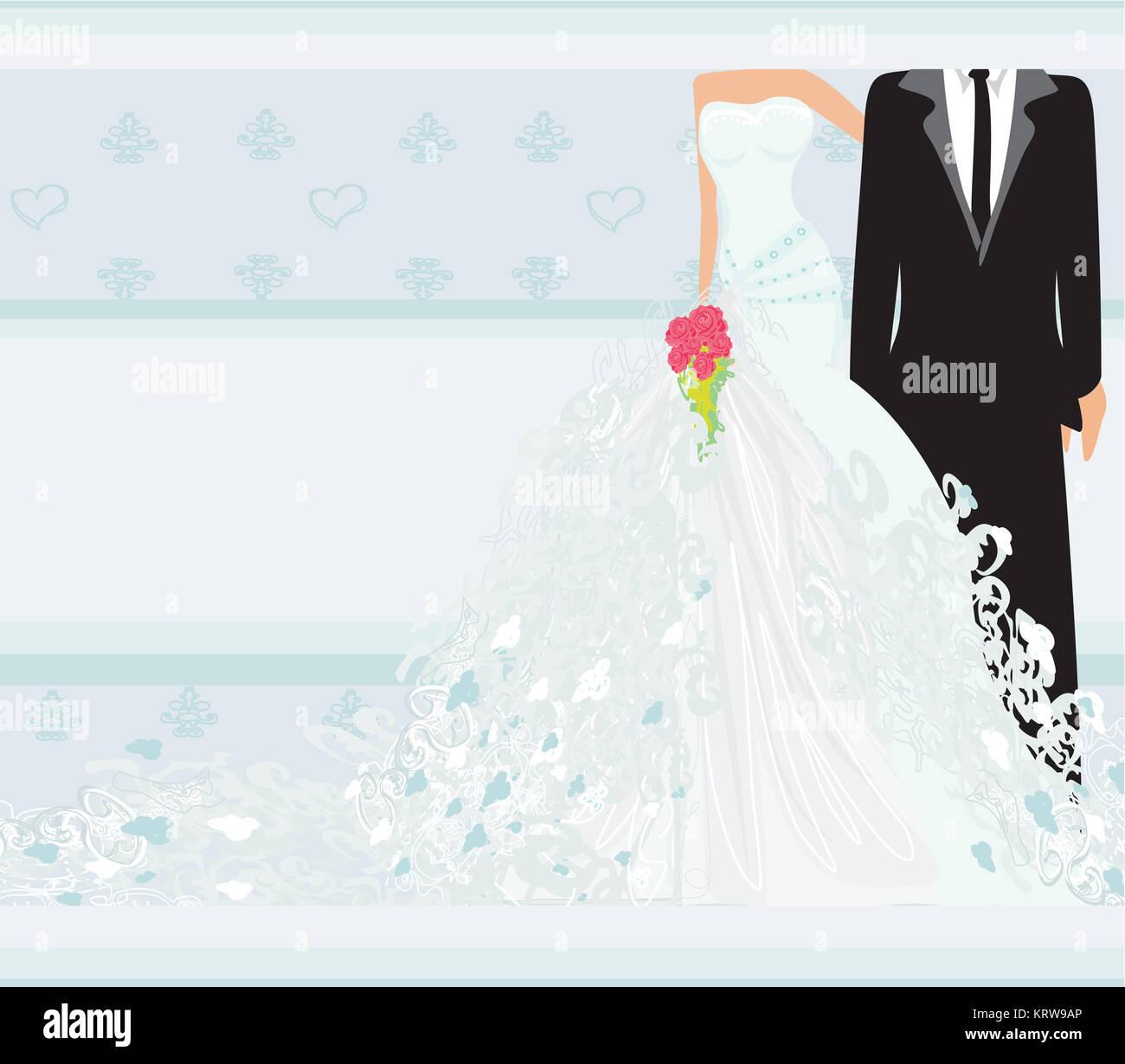 Stylish Wedding Invitation Card Vintage Ornament Background Couple