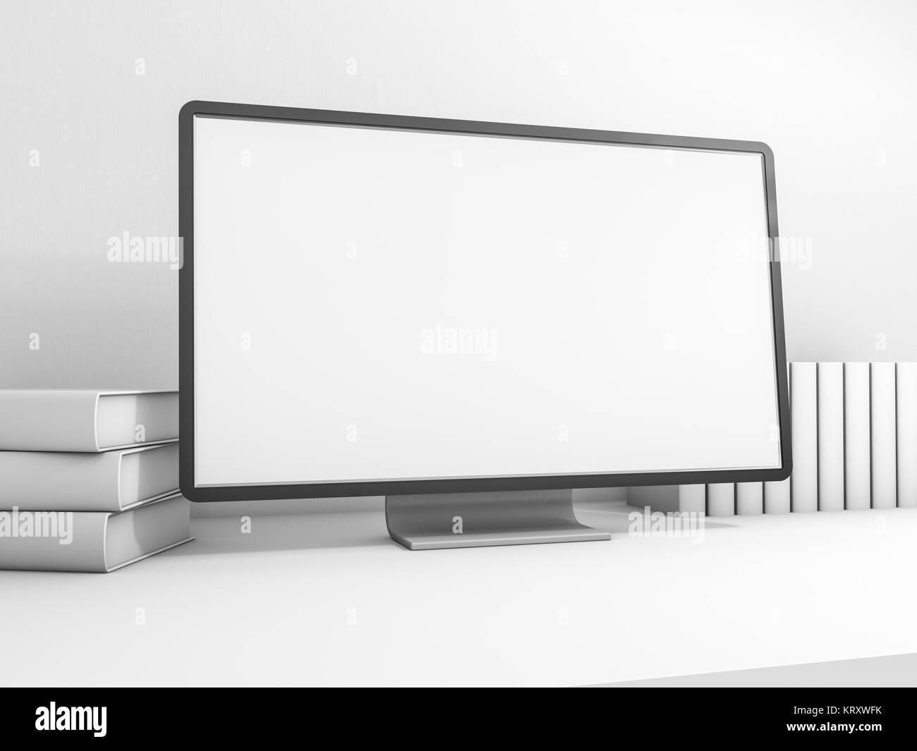 Espace de travail de l'ordinateur sur le tableau indiquant la écran blanc. Le rendu 3D Banque D'Images