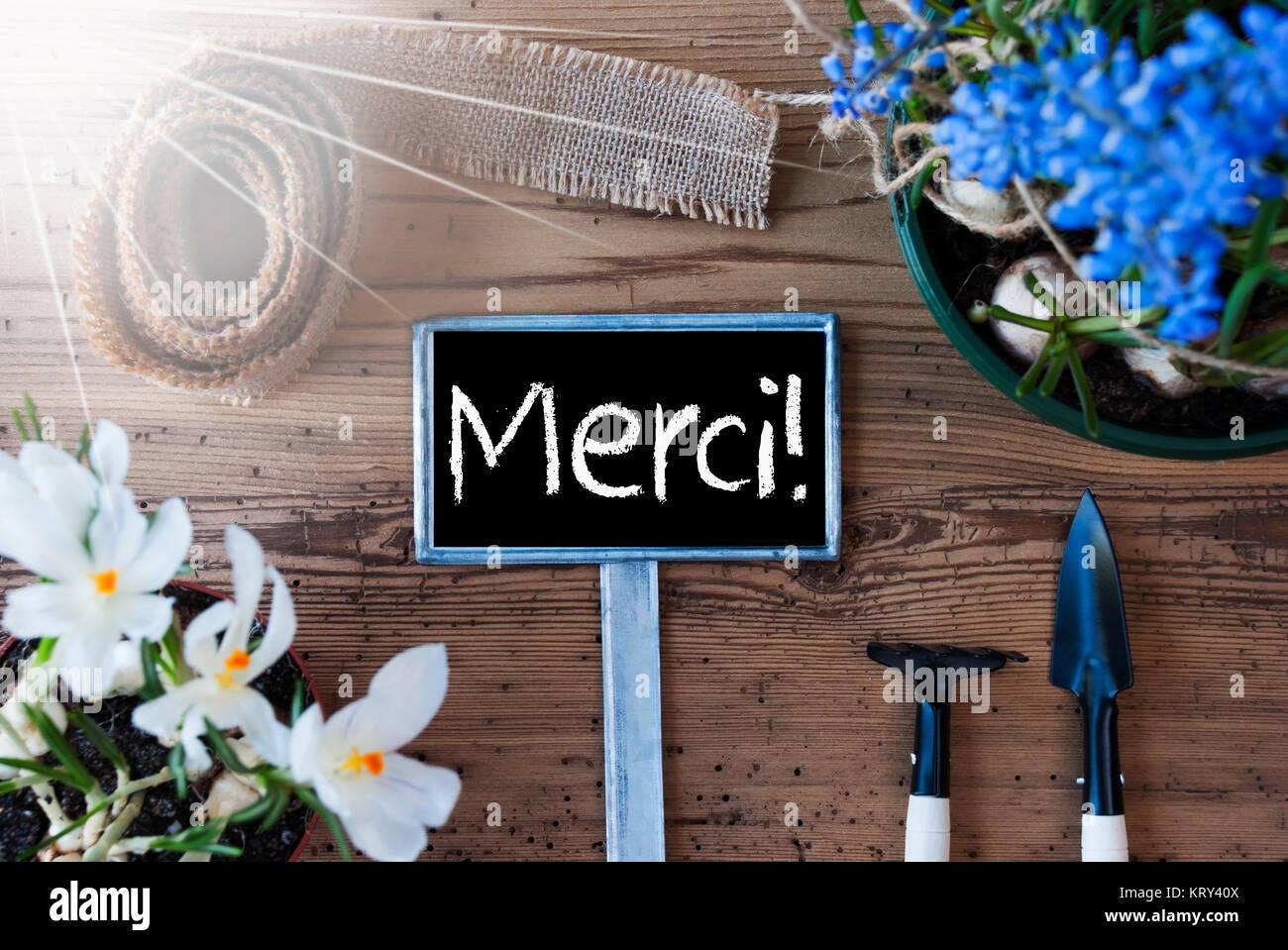 Panneau avec texte français Merci veut dire merci. Fleurs de ...