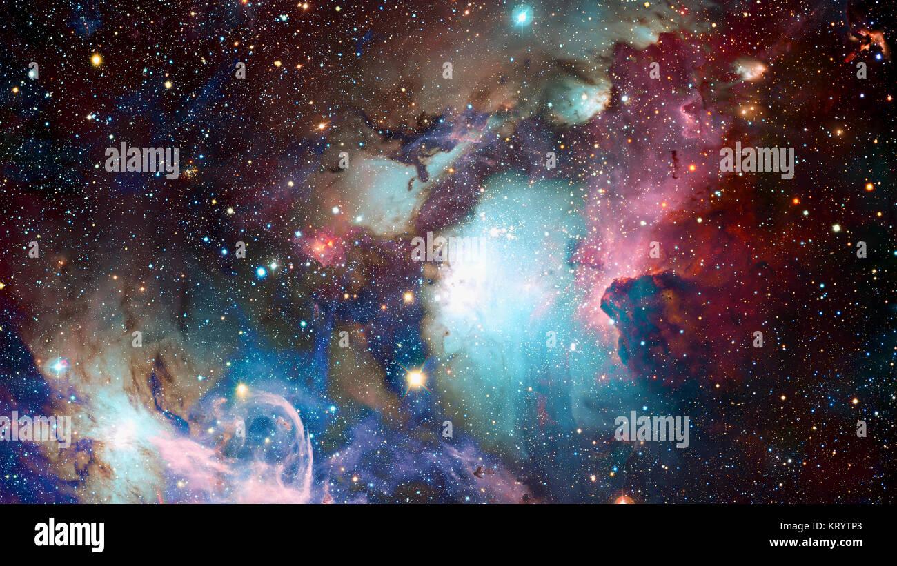 Nuages cosmiques de bruine sur les fonds de couleur lumineuse. Éléments fournis par la NASA Photo Stock