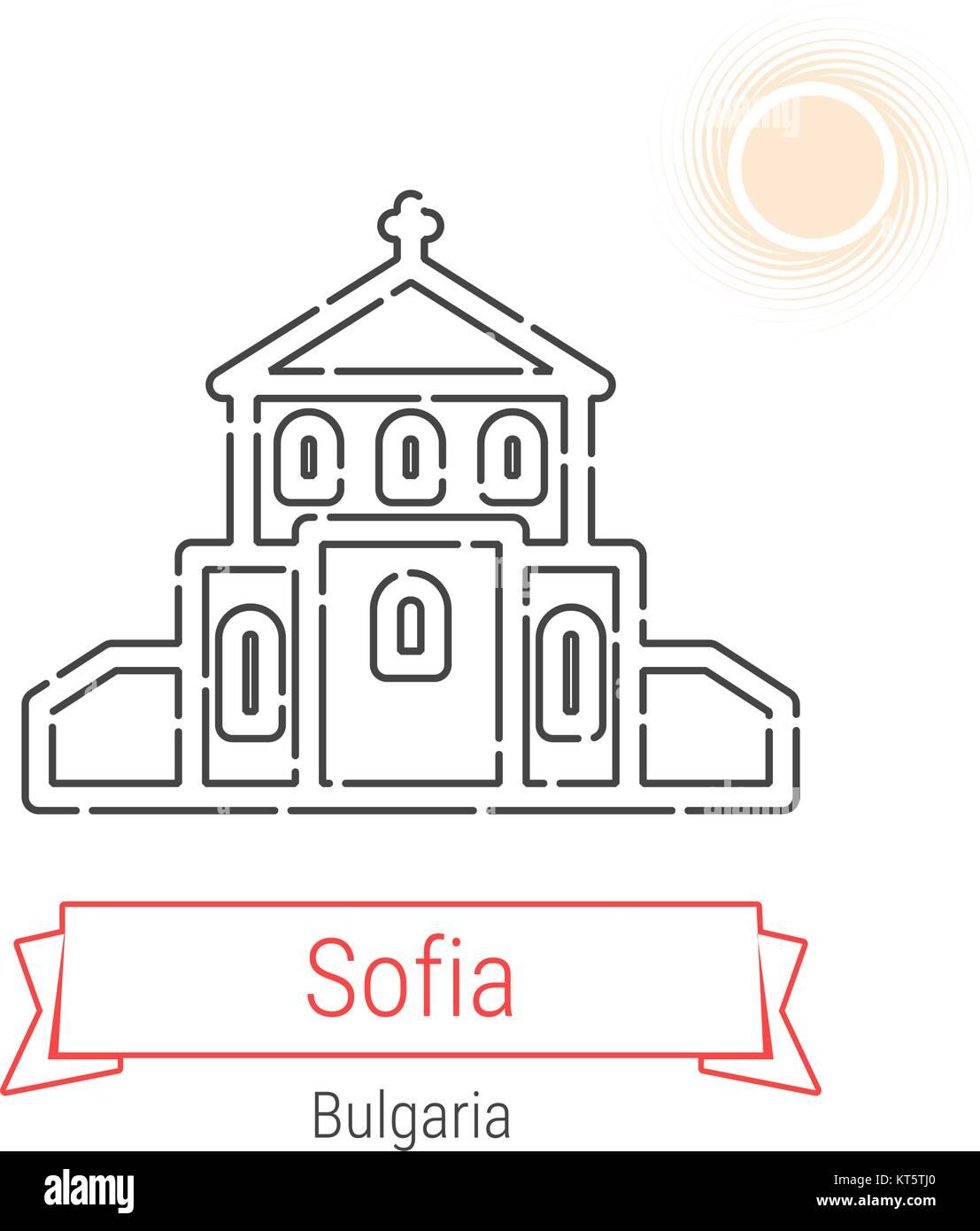 Sofia, Bulgarie l icône de la ligne du vecteur avec ruban rouge isolé sur 486f8dda5db