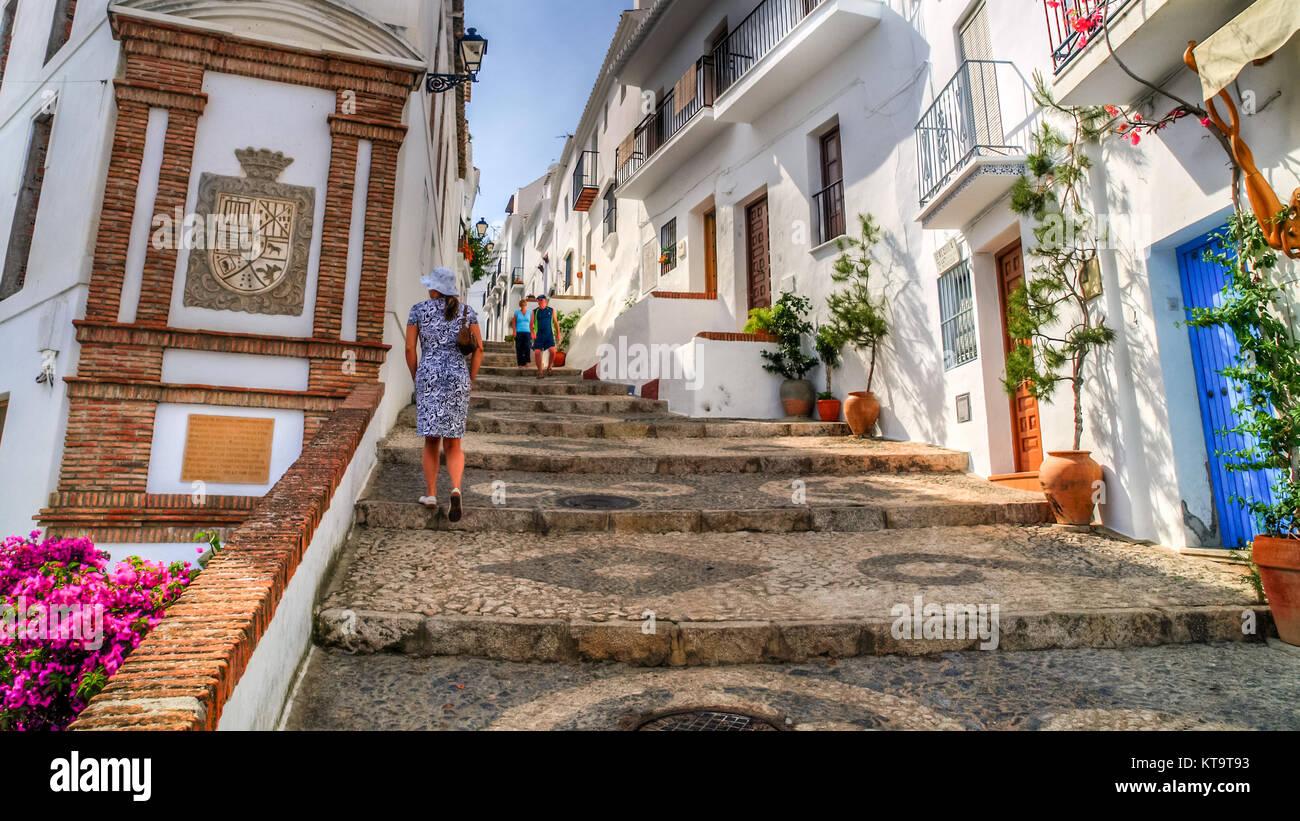 Vue d'une rue de Frigiliana, Pueblo Blanco, Espagne Photo Stock