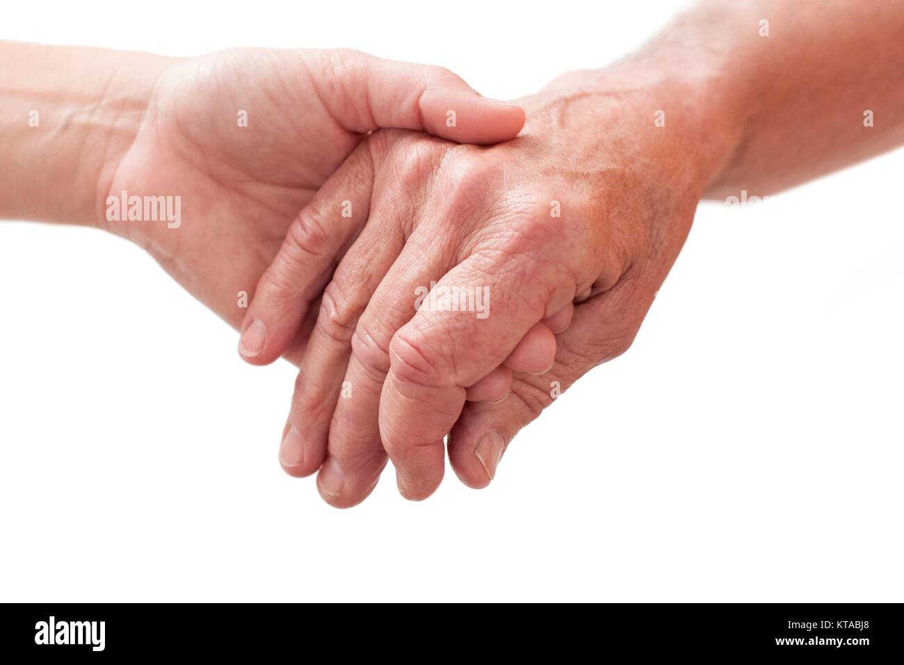 Personne tenant la main de l'autre, Close up. Photo Stock