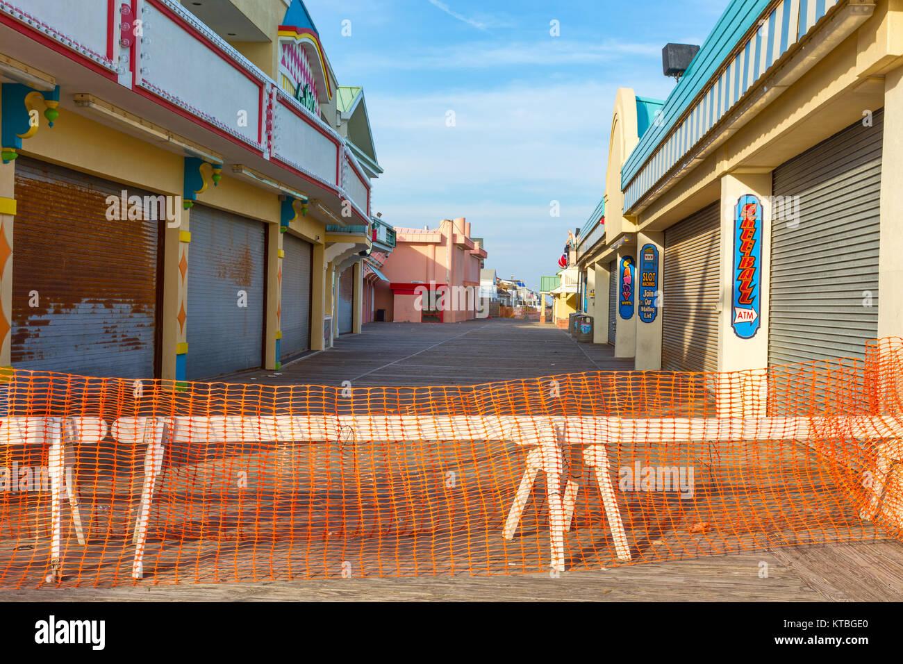 La plage de Point Pleasant, New Jersey boardwalk endommagés après l'Ouragan Sandy Photo Stock