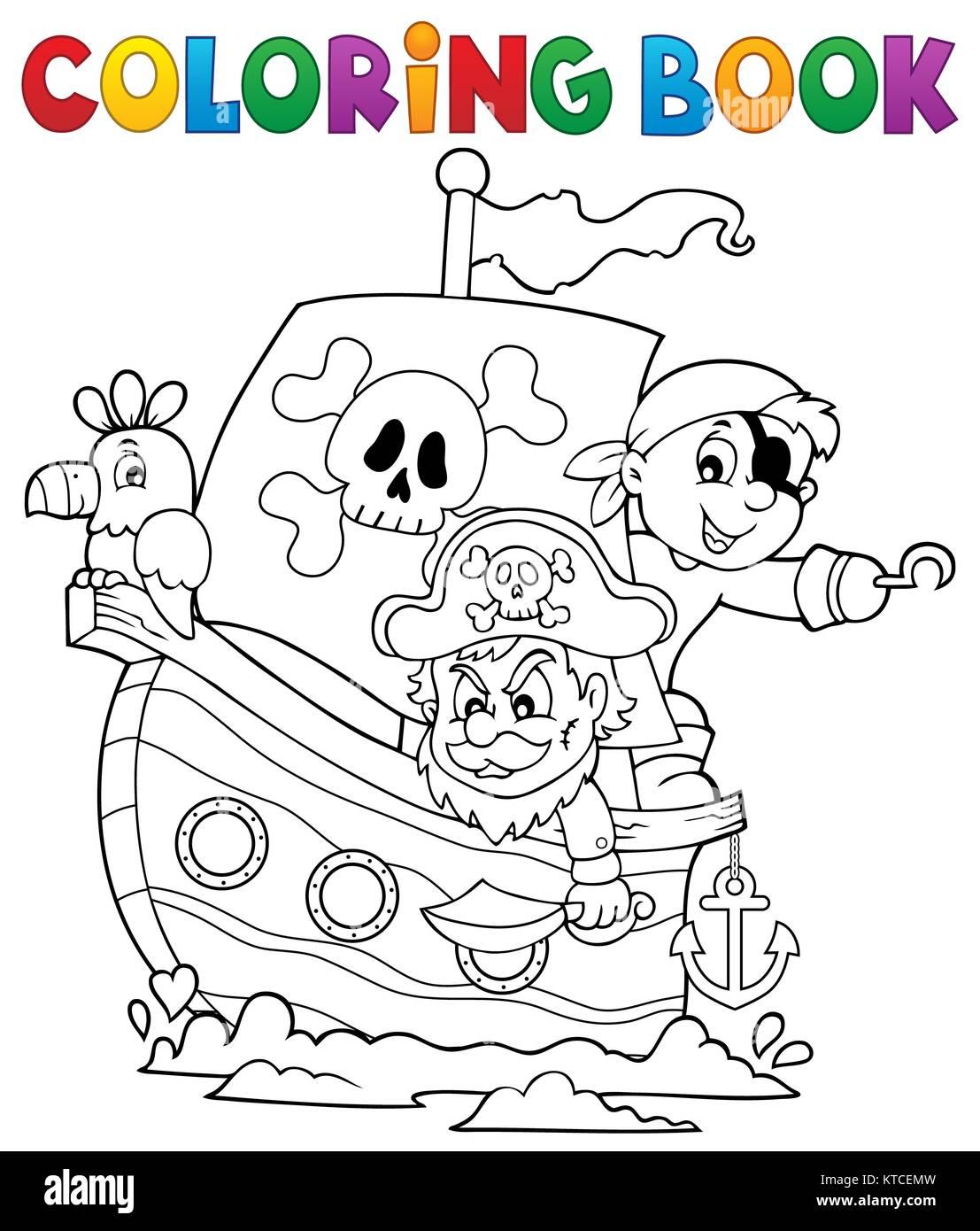 Coloriage Bateau Pirate Couleur.Livre De Coloriage Bateau Pirate Theme 1 Banque D Images Photo