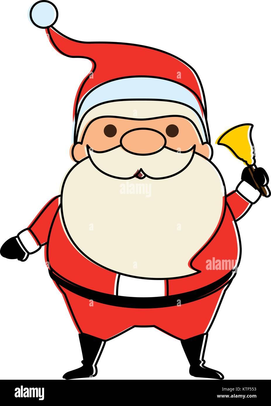 Père Noël Mignon Avec Bell Kawaii Character Vector Illustration