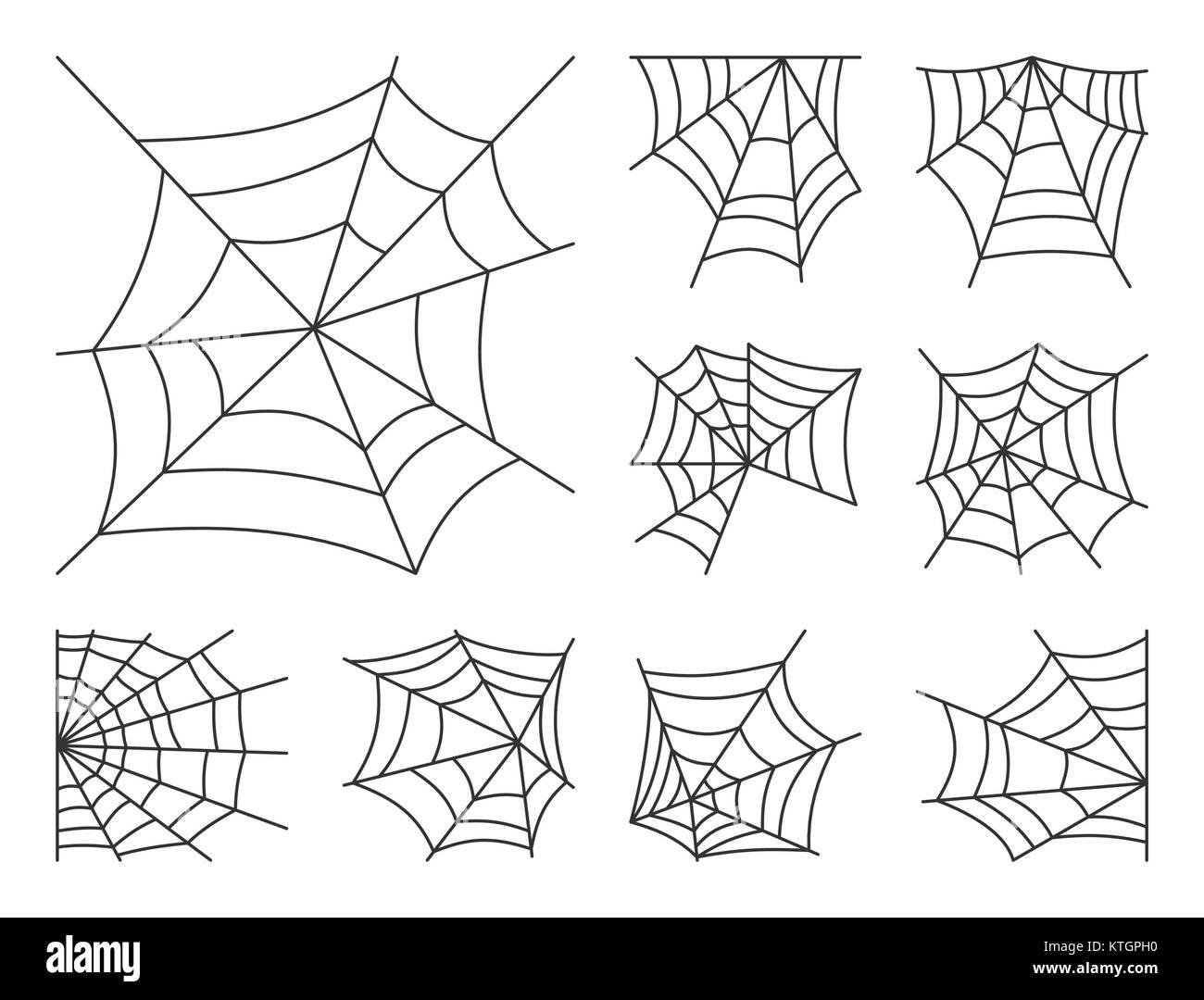 Spider web fine ligne icon set. Vecteur d'Araignée était le symbole linéaire blanc pack. Contour-signe. Avc. modifiable Illustration de Vecteur