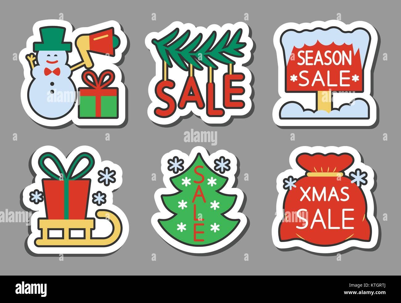 Saison de Noël vente Pictogramme autocollant set. Télévision couleur style nouvelle année badges jeu, web, des bannières, Illustration de Vecteur