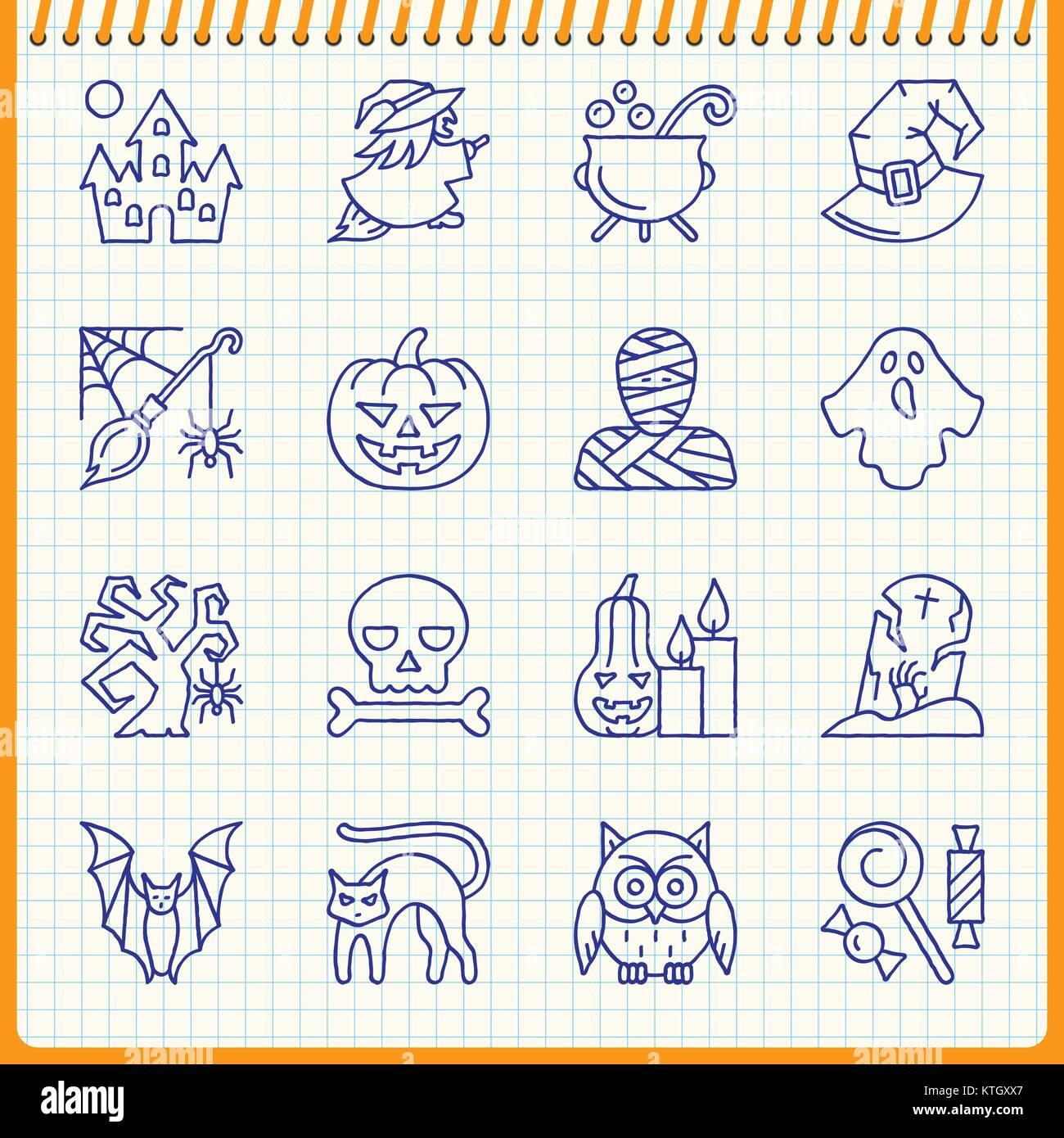 L'icône de la ligne d'Halloween ensemble. Effet de plume manuscrite sur fond à carreaux. Vector illustration style Illustration de Vecteur