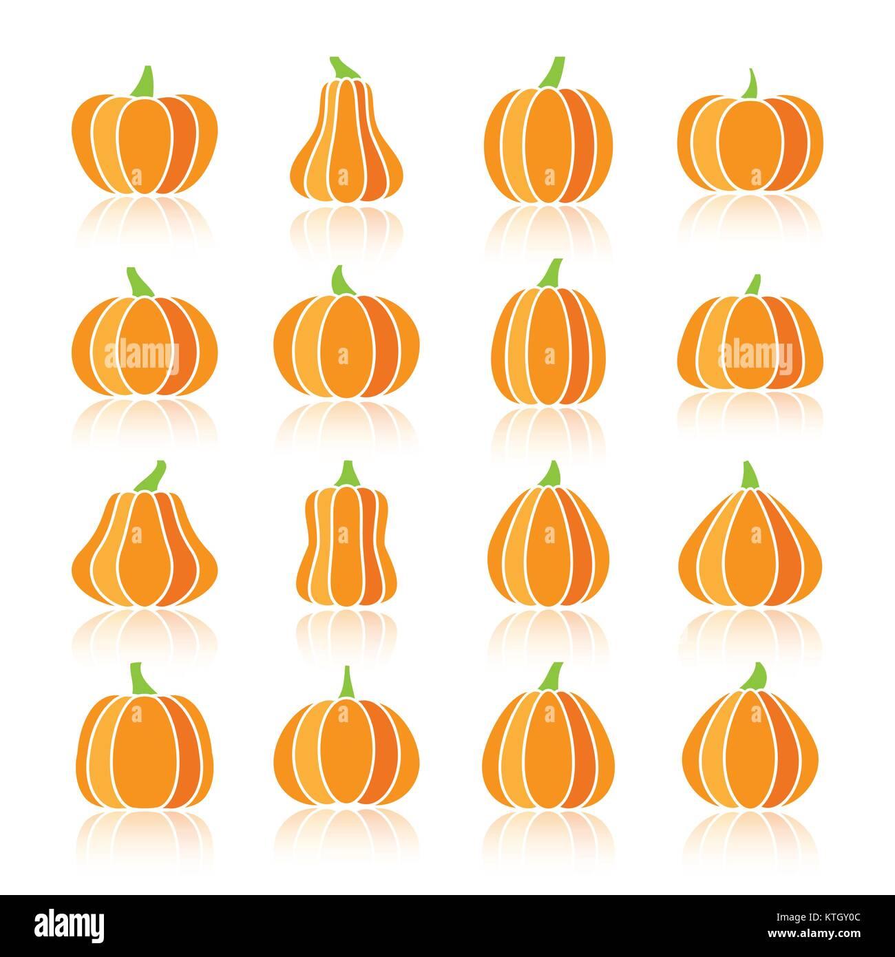 Silhouette couleur citrouille Halloween avec réflexion icon set. Télévision couleur symbole design collection. Pictogramme Illustration de Vecteur