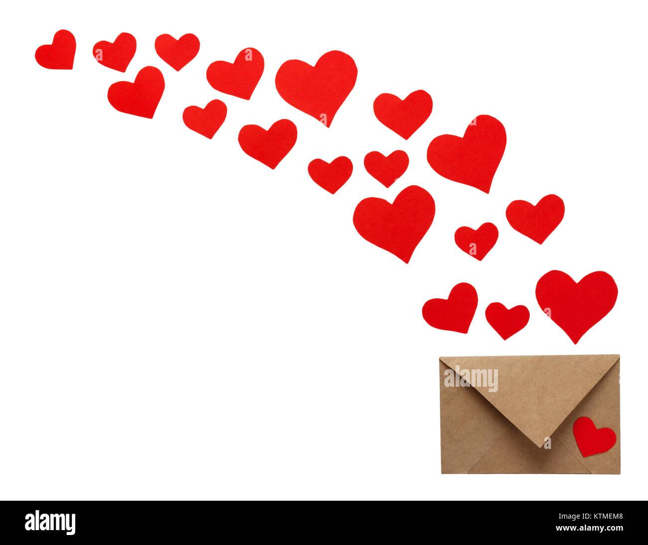 carte de souhaits st-valentin colorées enveloppes avec coeur. coeurs