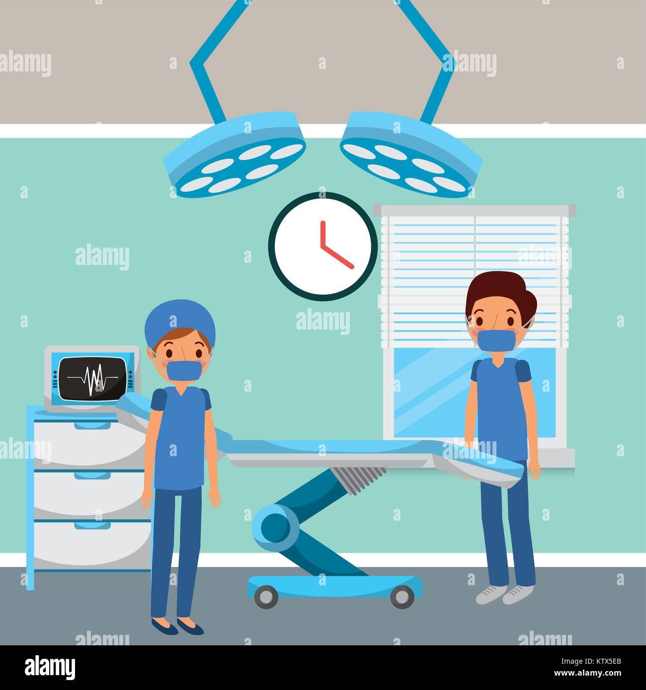 Beau Les Médecins à Lu0027hôpital De Chirurgie Chambre Double Fenêtre Feux