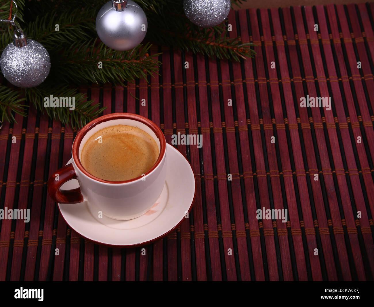 Bonjour Ou Bonne Journée Joyeux Noël Tasse De Café Avec Des