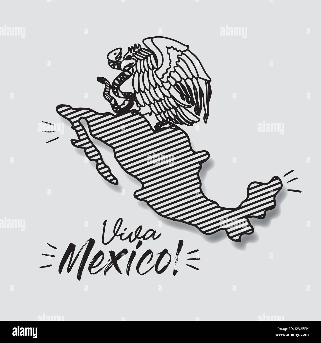 Viva Mexico poster avec carte rayé et emblème de l'aigle avec snake en silhouette noire Illustration de Vecteur