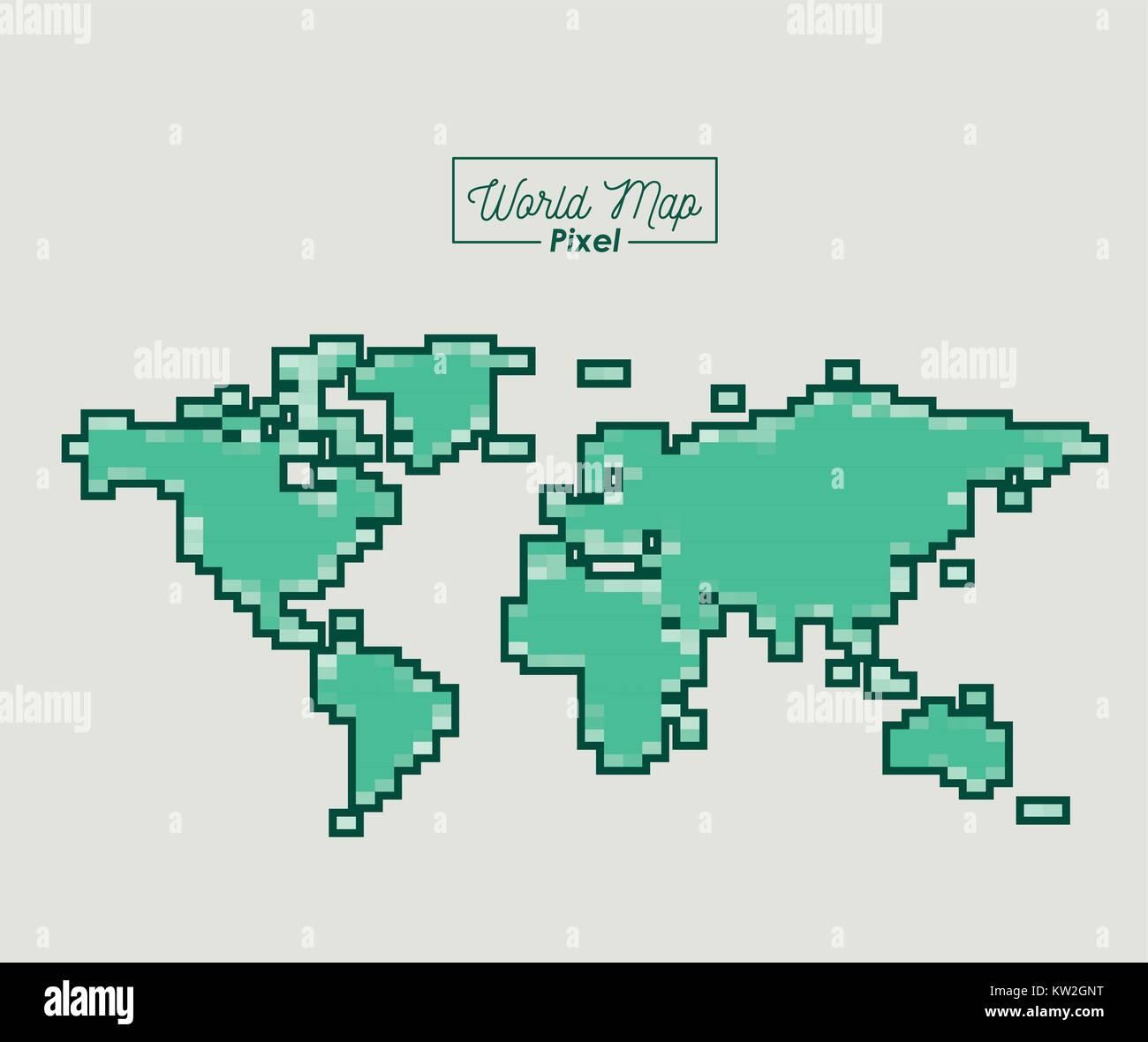 Carte Du Monde Des Pixels De Couleur Vert Silhouette