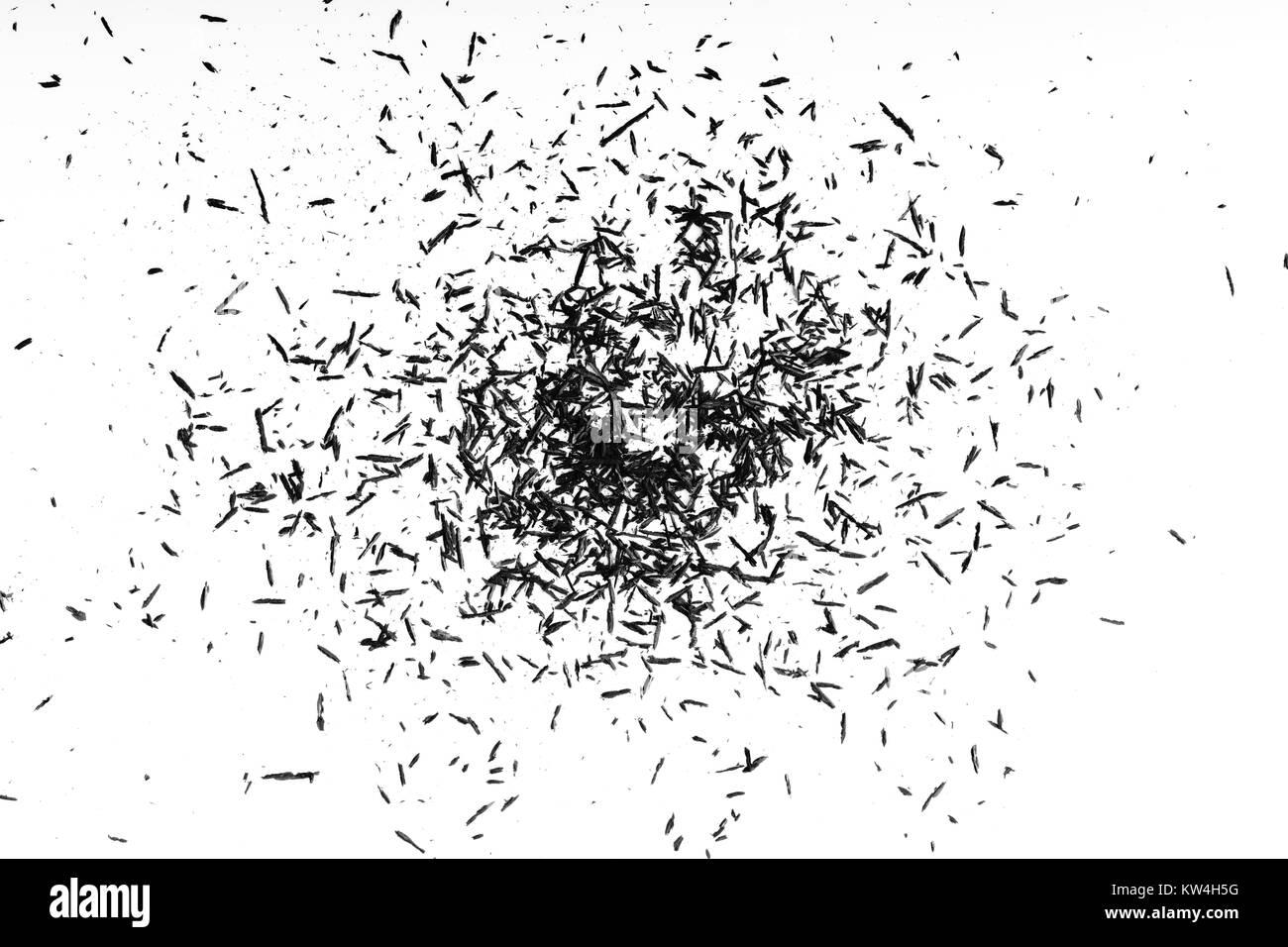 Copeaux de crayon sur fond blanc fond copeaux de crayon. Banque D'Images