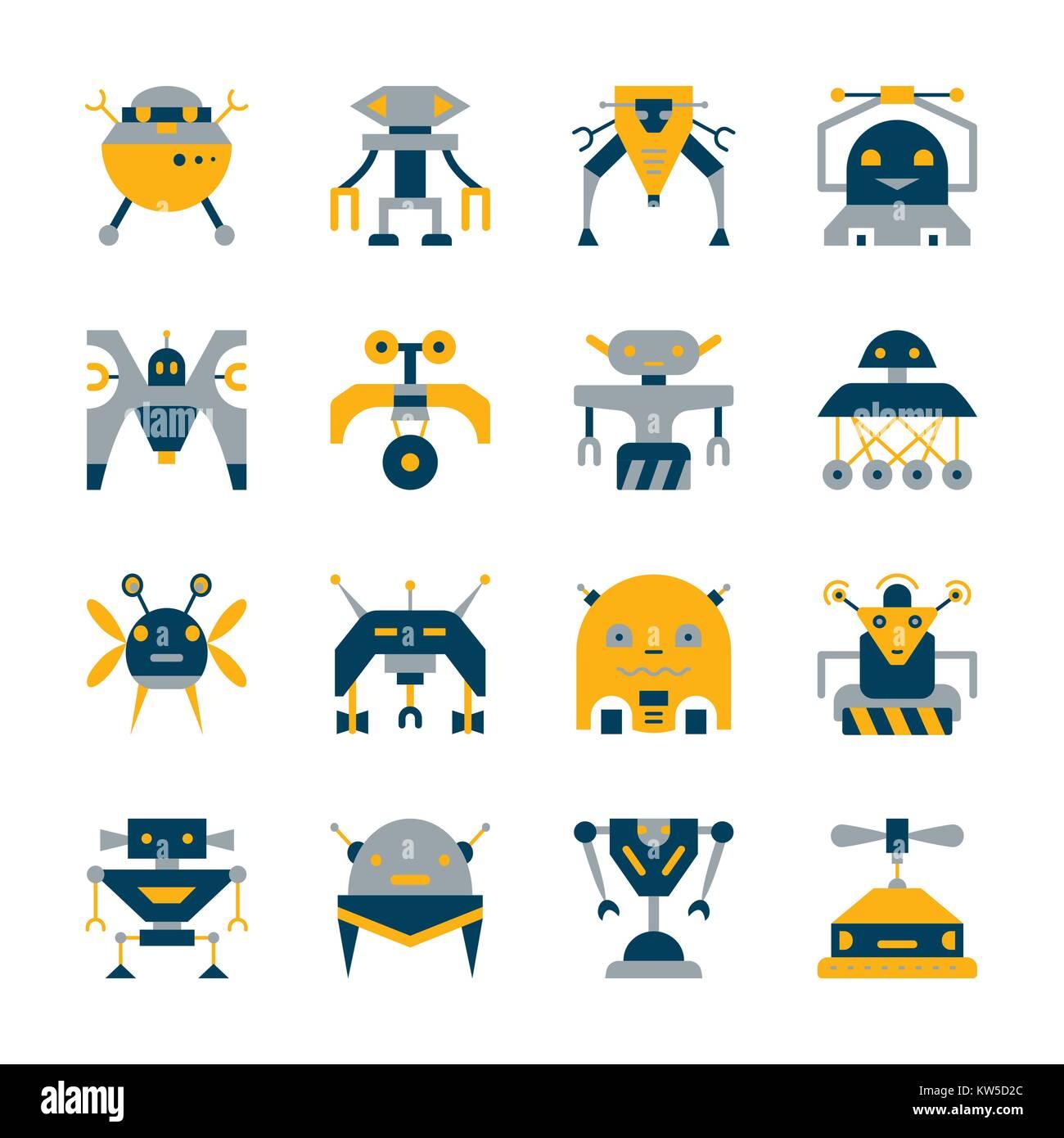 Robot colorés icon set. Collection style télévision transformateur. Cyborg color concept. Web, infographie, impression, Illustration de Vecteur