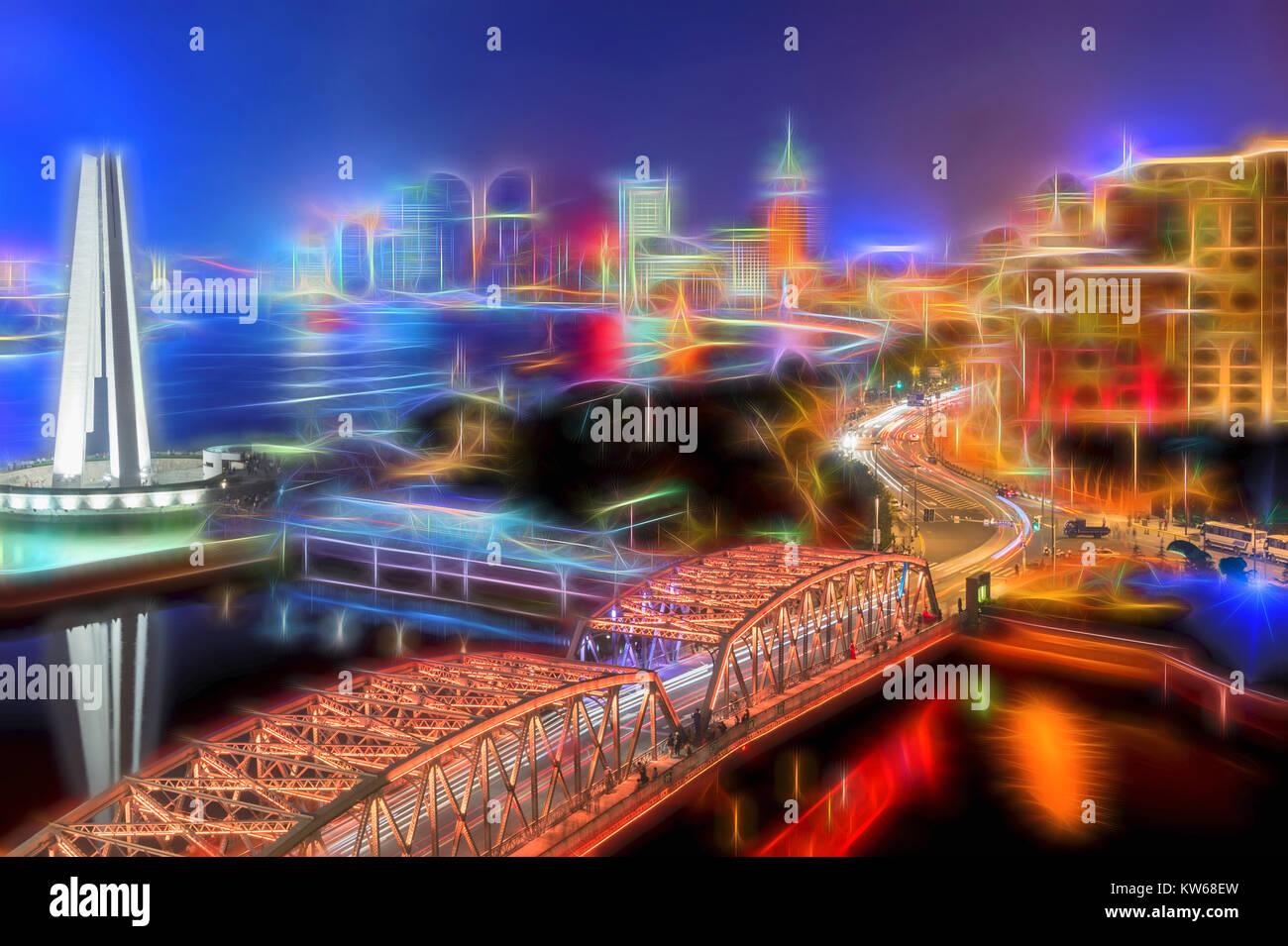 Le Bund la nuit, Shanghai, Chine Photo Stock