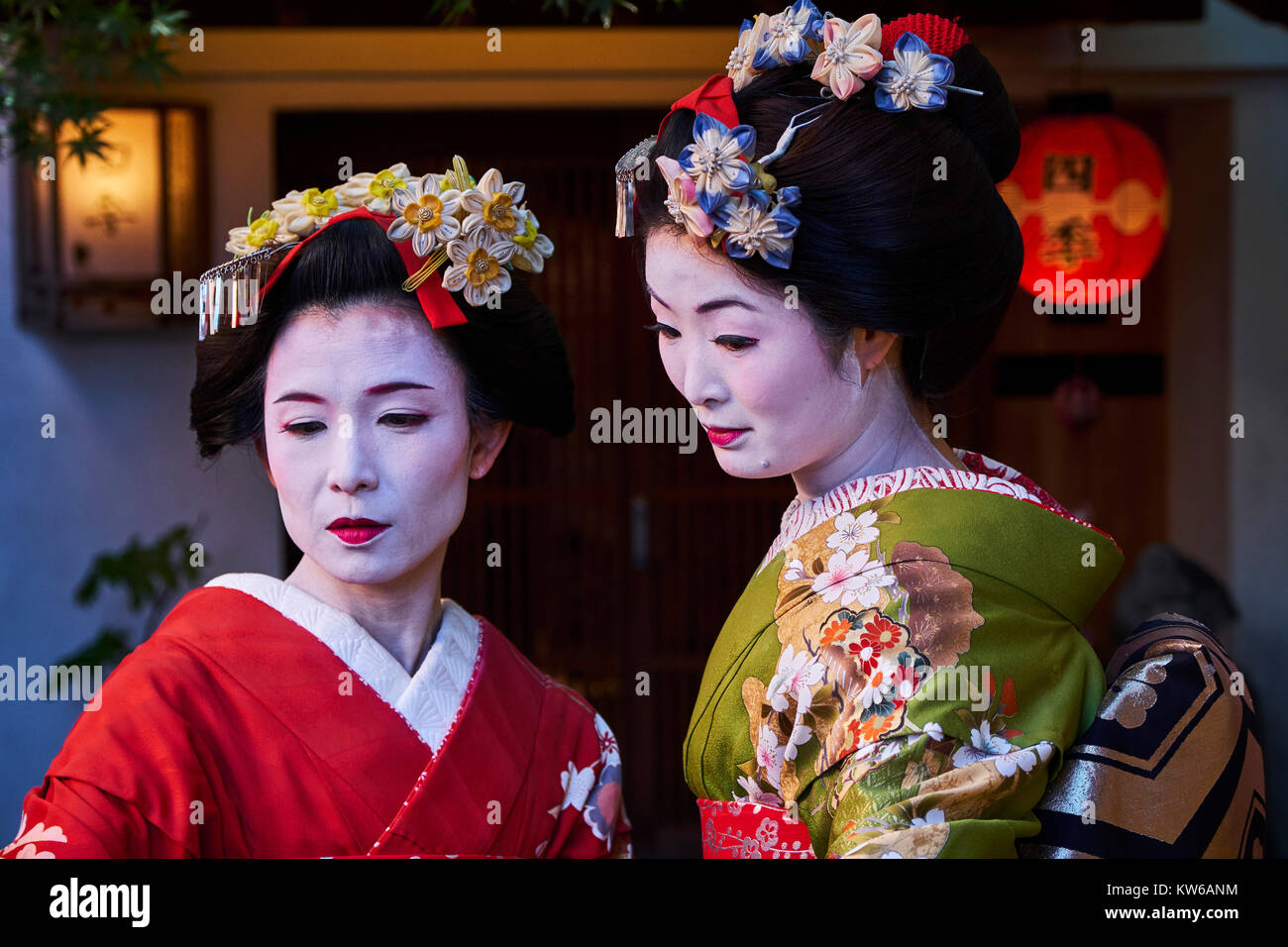 Le Japon, l'île de Honshu, région du Kansai, Kyoto, Gion, quartier de Geisha Photo Stock