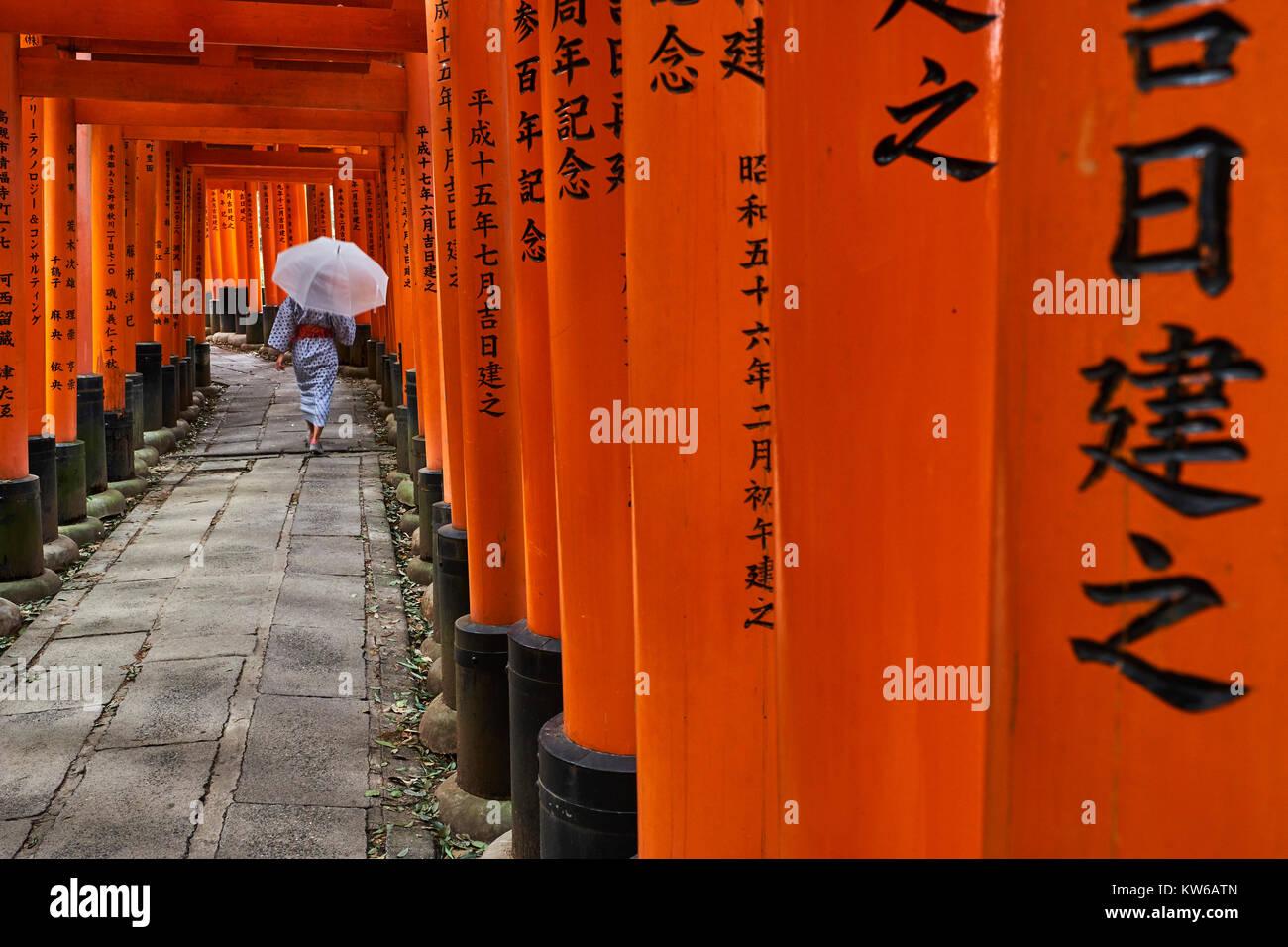 Le Japon, l'île de Honshu, Kansai, Kyoto, région, Arashiyama Fushimi Inari-Taisha Temple, sanctuaire Photo Stock