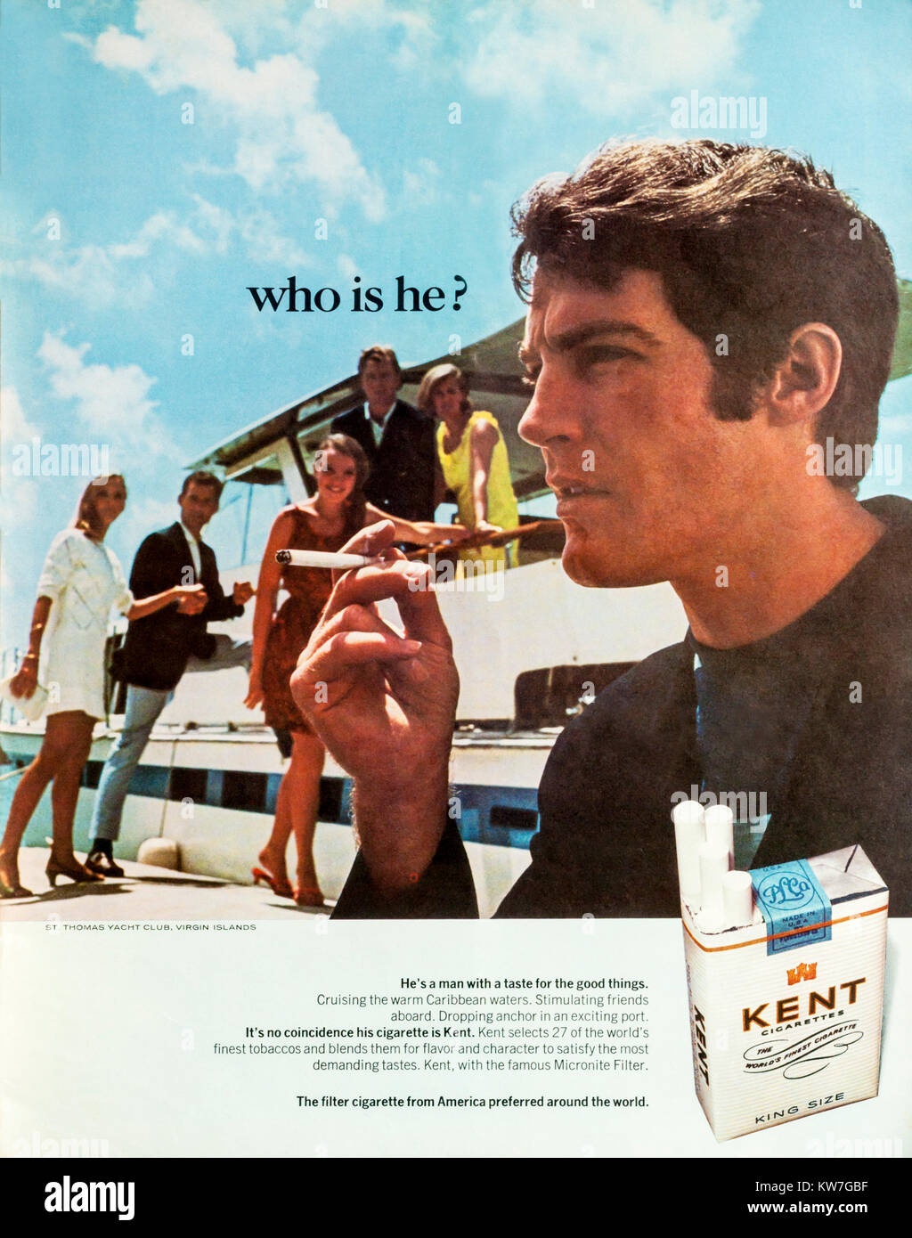 1960 Publicité Publicité cigarettes Kent. Photo Stock