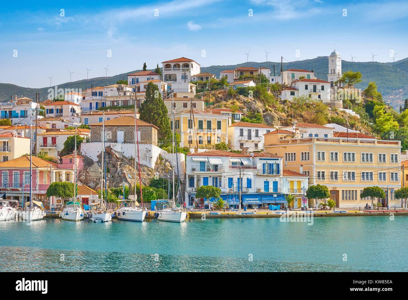 L'île de Poros, Argolide, Péloponnèse, Grèce Photo Stock