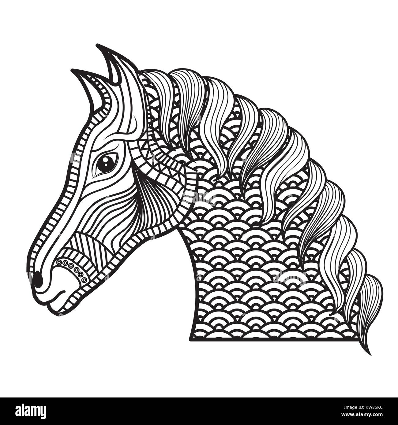 Coloriage Adulte Cheval.Coloriage Adultes Cheval Monochrome Dimensions Vector Illustration