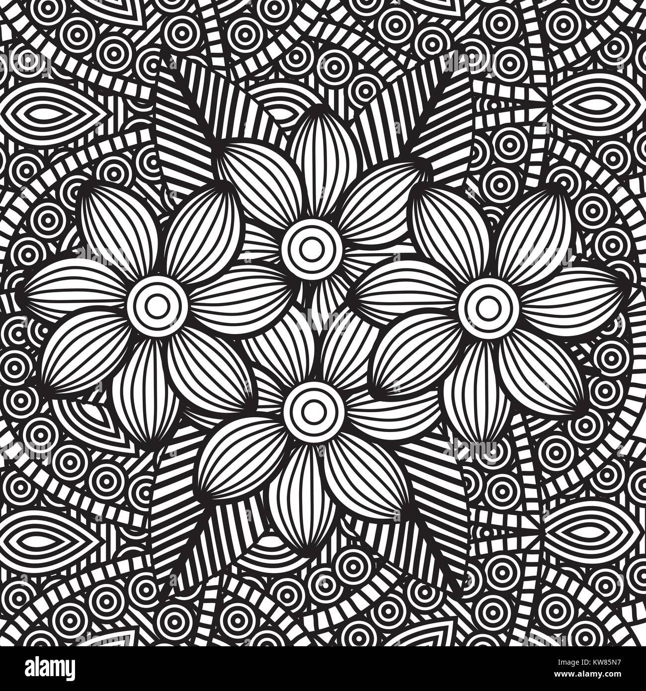 Coloriage Adultes Dessin Fleurs Monochromes Image Vectorielle Stock Alamy