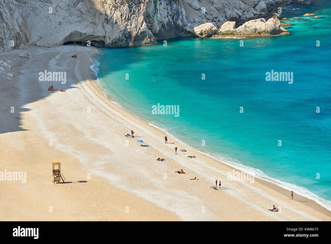 Plage de Myrtos, Céphalonie Céphalonie (Grèce), îles Ioniennes, Grèce Photo Stock
