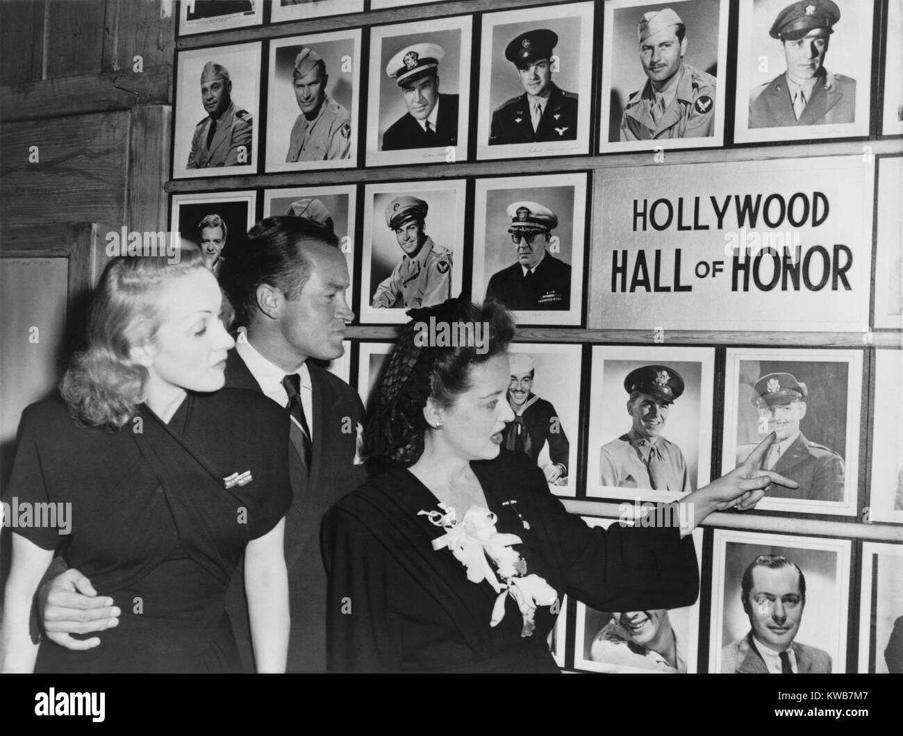 Mur d'honneur dans la cantine pour Hollywood militaires durant la Seconde Guerre mondiale 2. Marlene Dietrich, Bob Banque D'Images