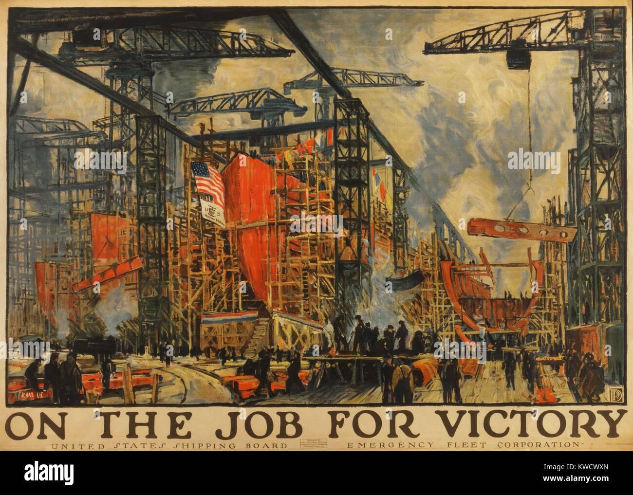 Sur LE TRAVAIL POUR LA VICTOIRE. La peinture impressionniste américain du chantier naval d'occupation pendant la Banque D'Images