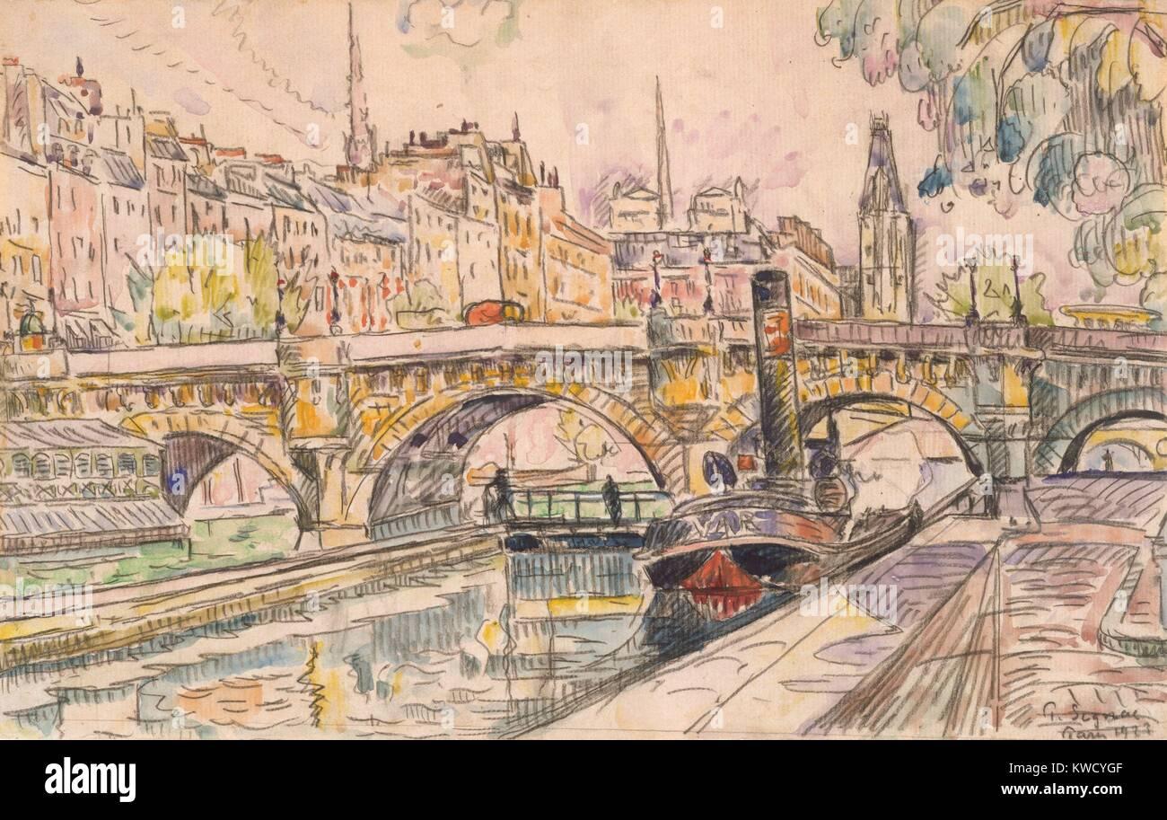 Au Remorqueur Le Pont Neuf Paris Par Paul Signac 1923 Aquarelle