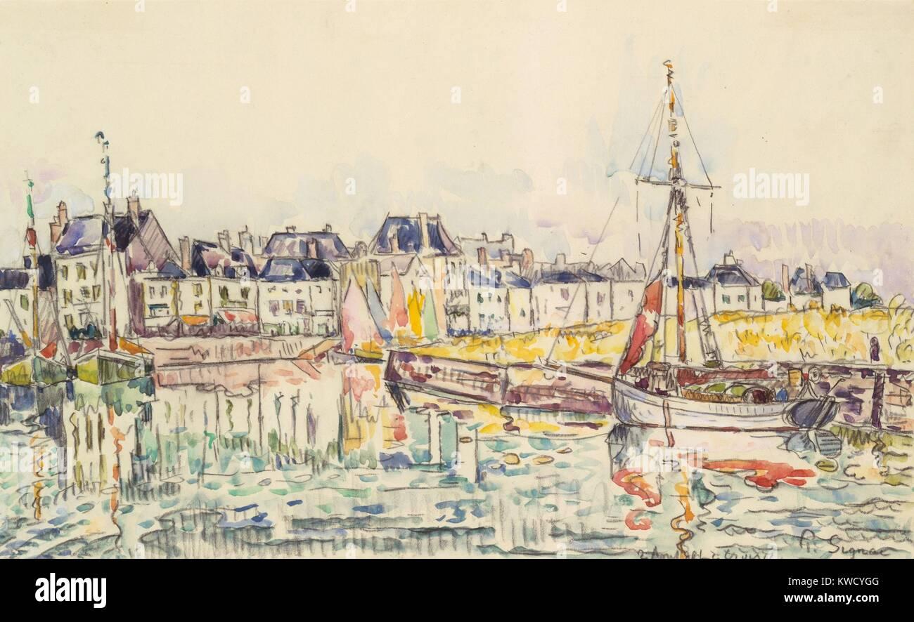 Le Croisic Par Paul Signac 1928 Aquarelle Postimpressionniste