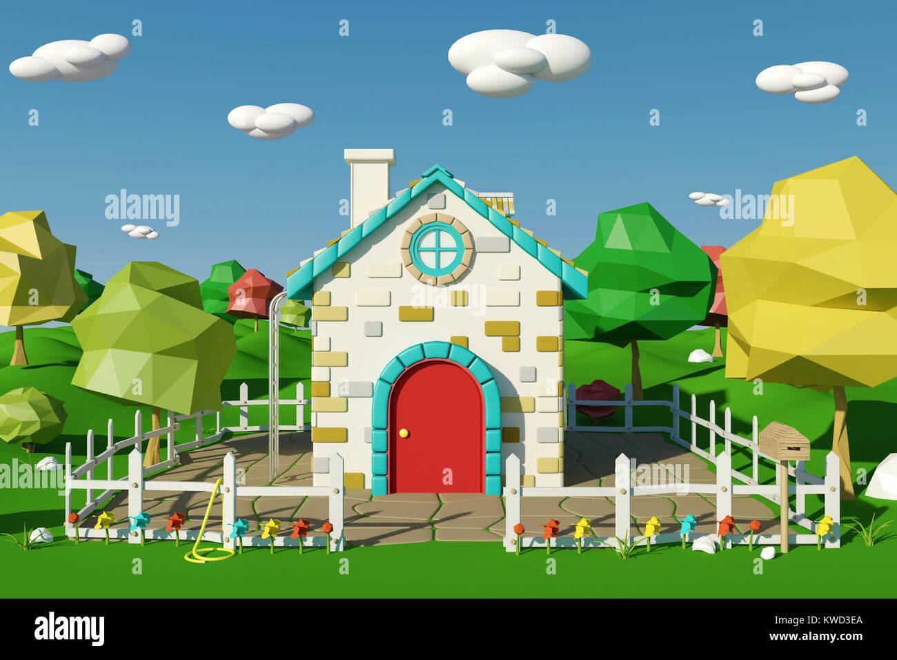 Maison de dessin animé avec campagne au printemps ou en été rendu 3d