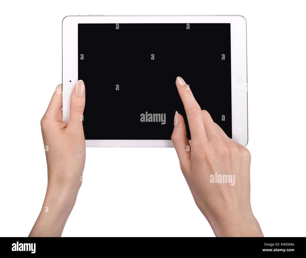 Un coup d'un générique à l'aide d'une femme l'iPad d'Apple. Photo Stock