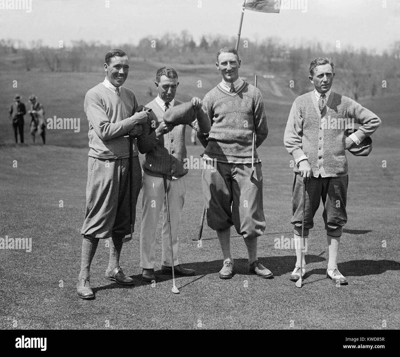 Les golfeurs de la famille J. W. Ockenden, Fred McLeod, Arthur S. Havers, Jock Hutchison, 22 avril 1924. McLeod Banque D'Images